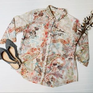 Chico's Floral Paisley Button Down Shirt